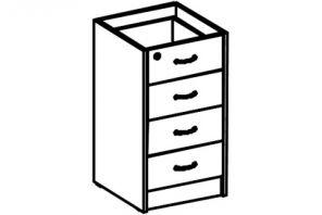 Тумба приставная 4 ящика (глубина 60 см)